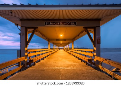 SAINT SIMONS ISLAND, GEORGIA, USA - DECEMBER 3, 2018: St. Simons Island Pier at twilight on Mallery Street in Saint Simons Island