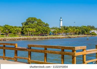 Saint Simons Park and Lighthouse from Pier