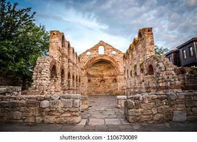 SAINT SOFIA , NESSEBER -Old roman church ruins/basilica in Nessebar, Bulgaria.  Black sea town in Bulgaria. Travel concept