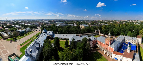 Saint Sophia orthodox cathedral and church of Resurrection of Jesus, The Kremlin Square of the Old City in a sunny summer day in Vologda Kremlin.