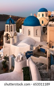 Saint Spyridon Church and Anastasis Church in the Morning, Oia, Santorini, Greece