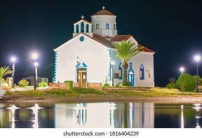 Saint Spyridon church at elafonisos island in Greece by night.