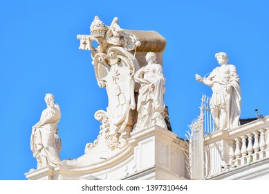 Saint Statues on the Bernini's Colonnade at St. Peter's Square in Vatican City