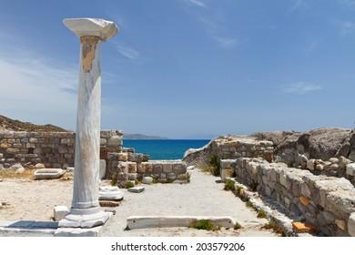 Saint Stefanos ancient basilica and beach at Kos island in Greece