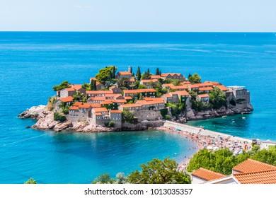Saint Stephen island near Budva in the sunny day in Montenegro. Beautiful resort place in the Adriatic Sea.