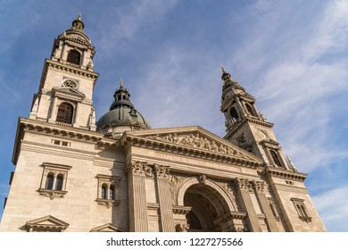 Saint Stephen's Basilica Dome and Architecture in Budapest, Hungary.  A Roman Catholic Basilica named in honor of Stephen, the first King of Hungary.
