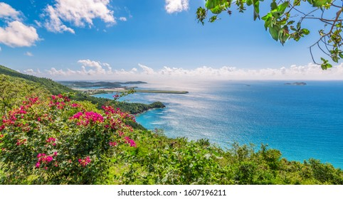 Saint Thomas, US Virgin Islands. Landscape with Brewers bay and Perseverance Bay. Airstrip of Charlotte Amalie West in the background.