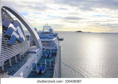 SAINT THOMAS, US VIRGIN ISLANDS - FEBRUARY 18, 2014 : Crown Princess ship departs from Charlotte Amalie on Saint Thomas. Crown Princess is a Grand-class cruise ship owned by Princess Cruises