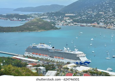 SAINT THOMAS, US VIRGIN ISLANDS - MARCH 23, 2017 : Royal Princess ship docked in Charlotte Amalie port. Royal Princess is operated by Princess Cruises line and has a capacity of 3600 passengers