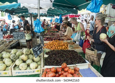 SAINT TROPEZ, FRANCE - JULY 25, 2016:Market with fresh fruits and vegetables in Saint Tropez