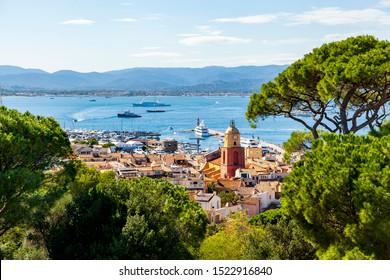 SAINT TROPEZ, FRANCE - September 24, 2019:  Cityscape of the old town of Saint Tropez on Cote d'Azur