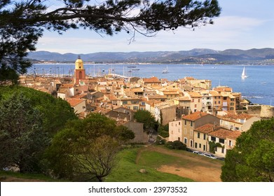 Saint Tropez with sea and boats from hillside overlooking town
