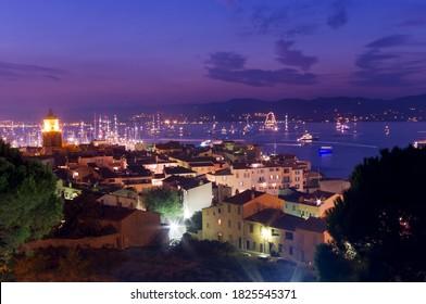 Saint Tropez sea resort, night scene in France Riviera