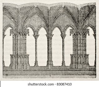 Saint Trophime church cloister detail, Arles, France. By unidentified author, published on Magasin Pittoresque, Paris, 1840