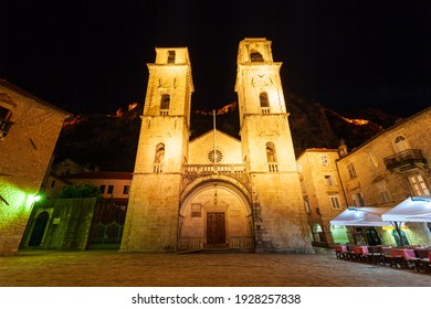 Saint Tryphon Cathedral or Katedrala Svetog Tripuna is a roman catholic cathedral in Kotor old town in Montenegro - Shutterstock ID 1928257838