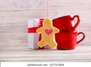 Saint Valentine day card with stained glass cookie