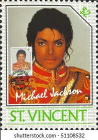 """SAINT VINCENT - CIRCA 1985: Old maximum card and stamp in honor of American pop singer Michael Jackson with inscription """"Michael Jackson, St. Vincent was printed in Saint Vincent, series, circa 1985"""