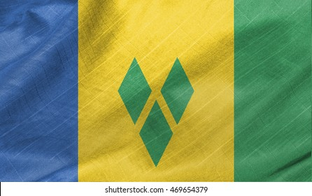 Saint Vincent flag waving in the wind