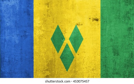 Saint Vincent and the Grenadine country flag with grunge wall texture background.