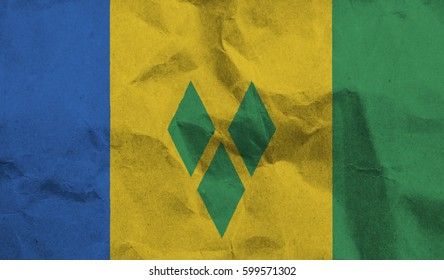 Saint Vincent and the Grenadines crumpled paper flag