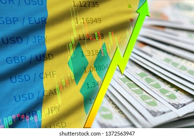 Saint Vincent and the Grenadines flag and chart growing US dollar position with a fan of dollar bills