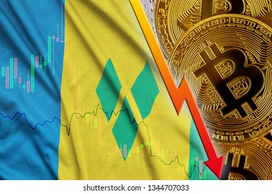 Saint Vincent and the Grenadines flag and cryptocurrency falling trend with many golden bitcoins