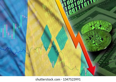 Saint Vincent and the Grenadines flag and cryptocurrency falling trend with two bitcoins on dollar bills and binary code display