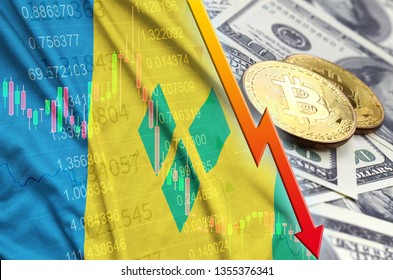Saint Vincent and the Grenadines flag and cryptocurrency falling trend with two bitcoins on dollar bills