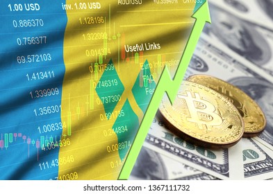 Saint Vincent and the Grenadines flag and cryptocurrency growing trend with two bitcoins on dollar bills