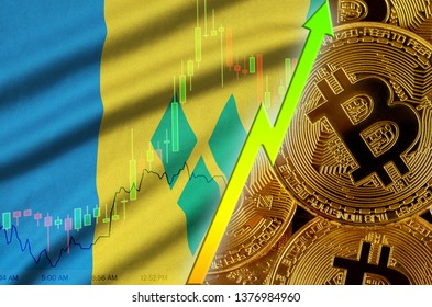Saint Vincent and the Grenadines flag and cryptocurrency growing trend with many golden bitcoins