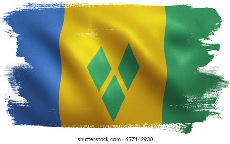 Saint Vincent and the Grenadines flag with fabric texture. 3D illustration.