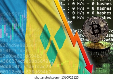 Saint Vincent and the Grenadines flag and falling red arrow on bitcoin mining screen and two physical golden bitcoins
