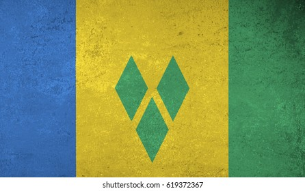 Saint Vincent and the Grenadines flag with grunge texture.