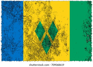 Saint Vincent and the Grenadines flag grunge background. Background for design in country flag