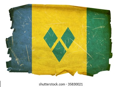 Saint Vincent and the Grenadines flag old, isolated on white background