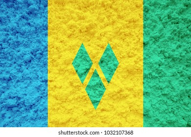 saint vincent and the grenadines flag on the wall illustration