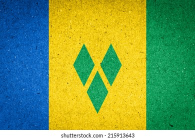 Saint Vincent and the Grenadines flag on paper background