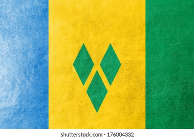 Saint Vincent and The Grenadines Flag painted on leather texture