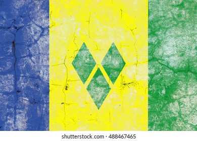 The Saint Vincent Grenadines flag painted on grunge wall