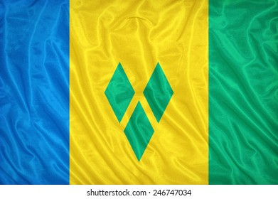 Saint Vincent and the Grenadines flag pattern on the fabric texture ,vintage style