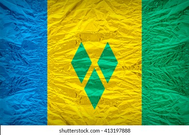 Saint Vincent and the Grenadines flag pattern overlay on floyd of candy shell, vintage border style