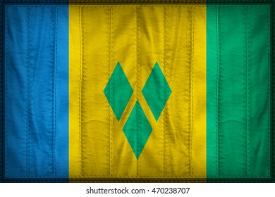 Saint Vincent and the Grenadines flag pattern on synthetic leather texture, 3d illustration style