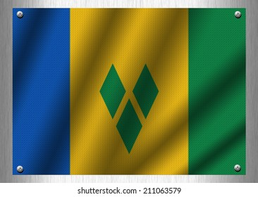 Saint Vincent and the Grenadines flag patterns on the steel plate.