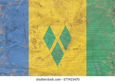 Saint Vincent and the Grenadines flag texture  on aged wood