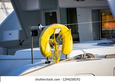 Saint Vincent and the Grenadines, Sailboat with yellow horseshoe personal flotation device
