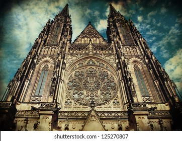Saint Vitus Cathedral in Prague, Chezch Republic in grunge-vintage style