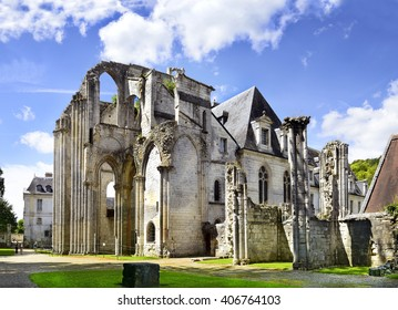Saint Wandrille Rancon, the ruins church in Abbey of St. Wandrille in Normandy, France. A significant monument 13th and 14th century
