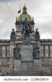 Saint Wenceslas (Svaty Vaclav) statue on Wenceslas Square  in front of the National Museum. Prague, Czech Republic