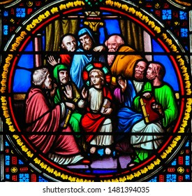 Saint-Adresse, France - August 15, 2019: Stained Glass in the Chapel of Notre-Dame-des-flots (1857) in Sainte Adresse, Le Havre, France, depicting Christ in the Temple of Jerusalem among the Doctors