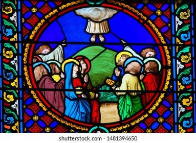 Saint-Adresse, France - August 15, 2019: Stained Glass in the Chapel of Notre-Dame-des-flots (1857) in Sainte Adresse, Le Havre, France, depicting the ascension of Jesus